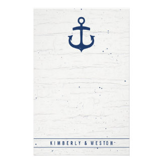 Rustic Nautical Wedding Note Paper / Navy Stationery Paper