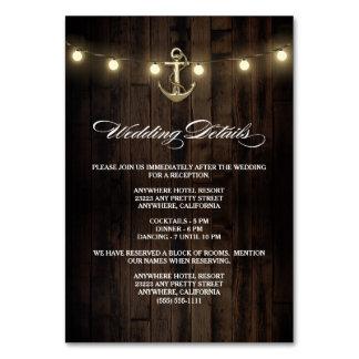 Rustic Nautical Wedding Reception + Hotel Cards