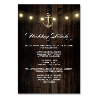 Rustic Nautical Wedding Reception + Hotel Cards Table Cards