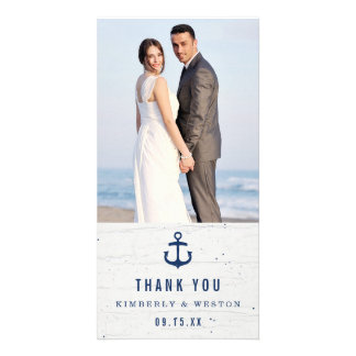 Rustic Nautical Wedding Thank You Card / Navy Customised Photo Card