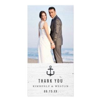 Rustic Nautical Wedding Thank You Photo Card