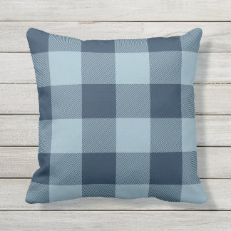 Rustic Navy and Light Blue Buffalo Check Plaid Outdoor Cushion