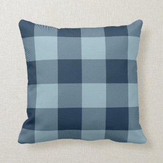 Rustic Navy and Light Blue Buffalo Check Plaid Throw Cushion