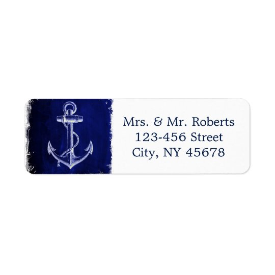 rustic Navy Blue anchor nautical wedding Return Address Label