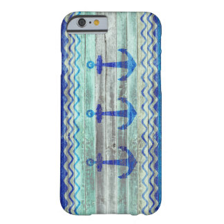 Rustic Navy Blue Anchors Barely There iPhone 6 Case
