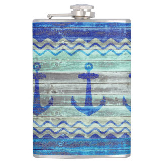 Rustic Navy Blue Anchors Flasks
