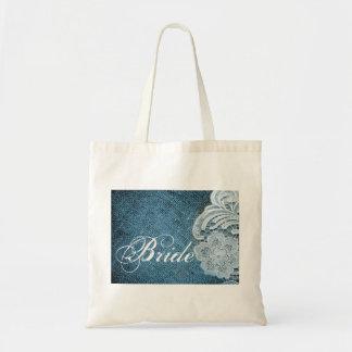 rustic navy blue burlap lace country bride canvas bags