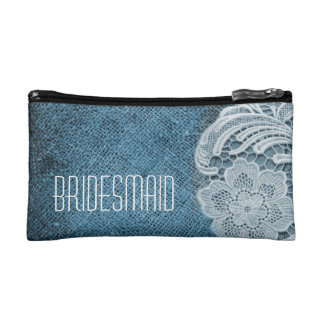 rustic navy blue burlap lace country bridesmaid makeup bag