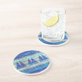Rustic Navy Blue Coastal Decor Sailboats Drink Coaster
