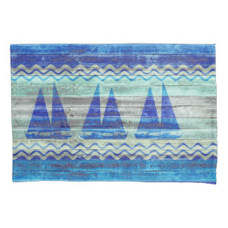 Rustic Navy Blue Coastal Decor Sailboats Pillowcase