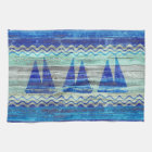 Rustic Navy Blue Coastal Decor Sailboats Tea Towel