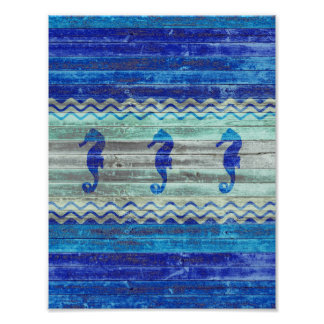 Rustic Navy Blue Coastal Decor Seahorses Poster