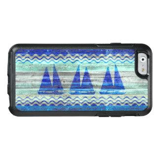 Rustic Navy Blue Coastal Sailboats OtterBox iPhone 6/6s Case