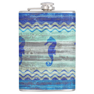 Rustic Navy Blue Coastal Seahorses Flask