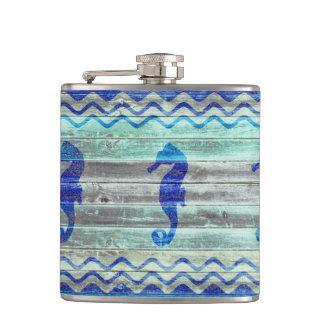 Rustic Navy Blue Coastal Seahorses Flasks