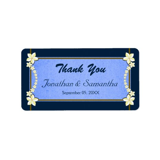 Rustic & Navy Blue Floral Wedding Favour Thank You Label