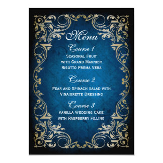 "rustic ""navy blue"" gold regal wedding menu card"