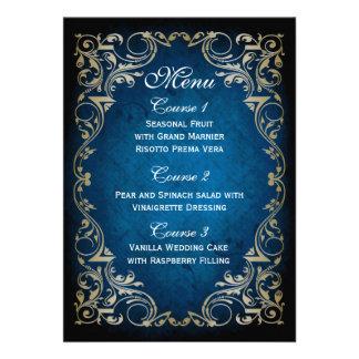 "rustic ""navy blue"" gold regal wedding menu personalized invitation"