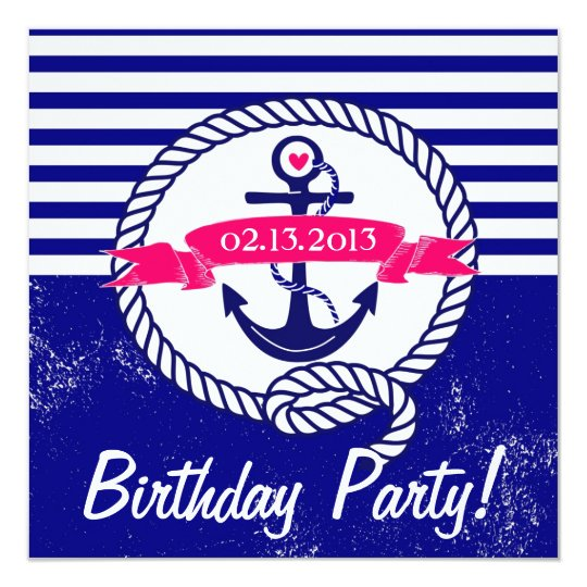 Rustic Navy Blue Nautical Birthday Invitation
