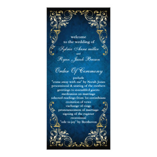 "rustic ""navy blue"" regal  wedding program 10 cm x 23 cm rack card"