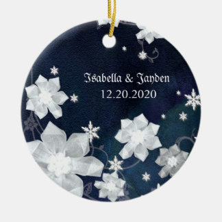 Rustic Navy Blue Snowy Winter Wedding Keepsake Ceramic Ornament