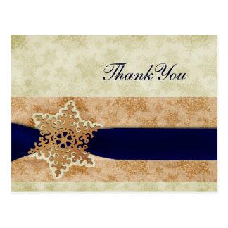"rustic ""navy blue"" winter wedding Thank You Postcards"
