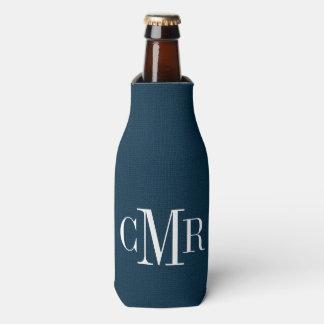 Rustic Navy Classic Monogram Bottle Cooler