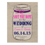 Rustic Navy & Pink & Mason Jar Save the Date Post Card