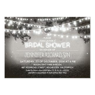 rustic night lights bridal shower invitations