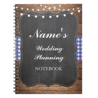 Rustic Notebook Wedding Planning Blue Check Notes