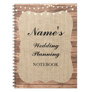Rustic Notebook Wedding Planning Burlap Notes