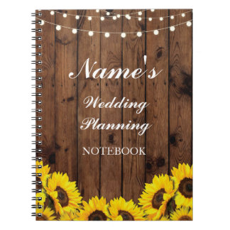 Rustic Notebook Wedding Planning Sunflower Notes