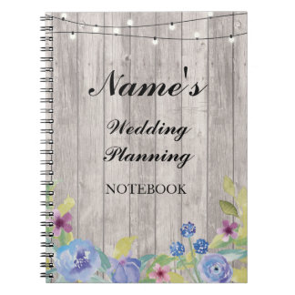 Rustic Notebook Wedding Planning wood floral Notes