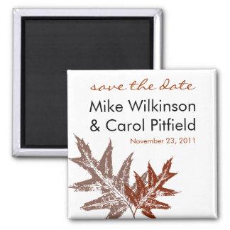Rustic Oak Leaf Save the Date Magnet