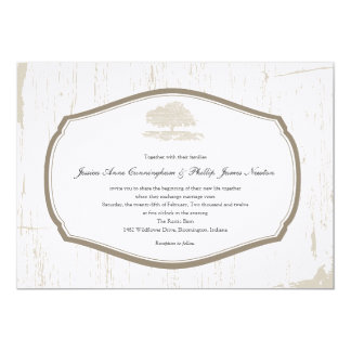 Rustic Oak Tree Barn Wedding Card