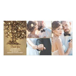 Rustic Oak Tree Lights Wedding Thank You Card