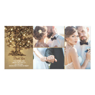Rustic Oak Tree Lights Wedding Thank You Picture Card