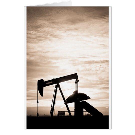 Rustic Oil Well Pump Vertical Sepia Card