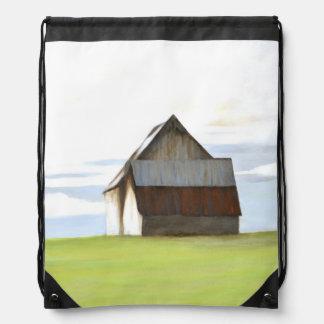 Rustic Old Barn Drawstring Backpacks