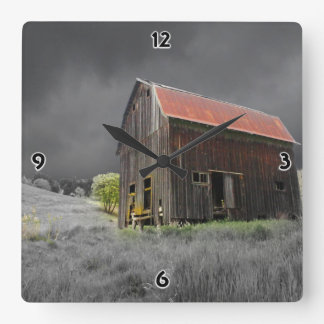 Rustic Old Barn Fine Art Photography Square Wall Clock