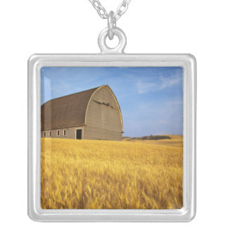 Rustic old barn in mature wheat field in the 2 square pendant necklace