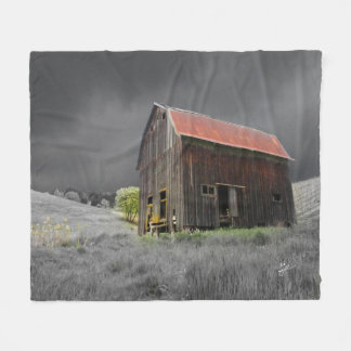 Rustic Old Barn Vintage Farmhouse Photography Fleece Blanket
