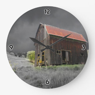 Rustic Old Barn Vintage Farmhouse Photography Large Clock