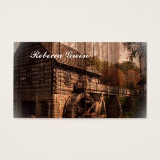 Rustic Old Barn With Water Wheel Business Card