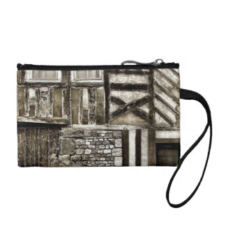 Rustic Old Country Wood and Stone Building Change Purse