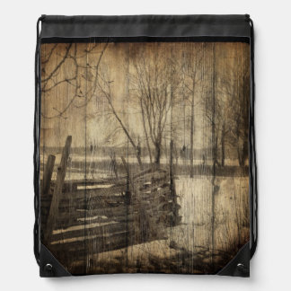 rustic  old fence in field design drawstring bag