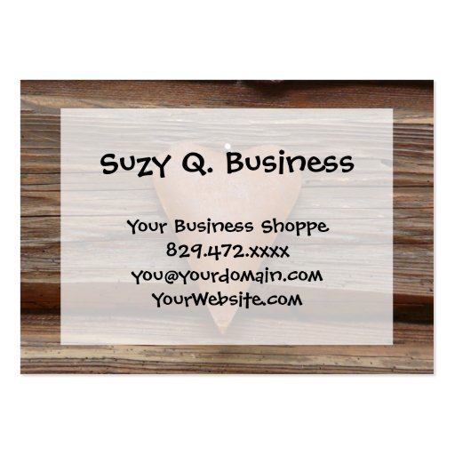 Rustic Old Heart on Log Cabin Wood Business Card Template