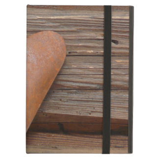 Rustic Old Heart on Log Cabin Wood Case For iPad Air