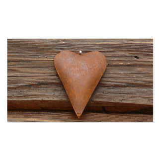 Rustic Old Heart on Log Cabin Wood Pack Of Standard Business Cards