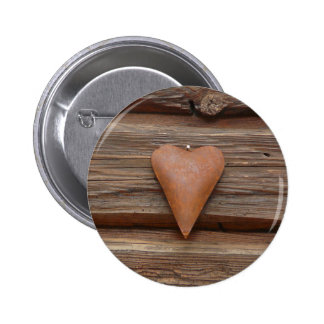 Rustic Old Heart on Log Cabin Wood Pinback Button